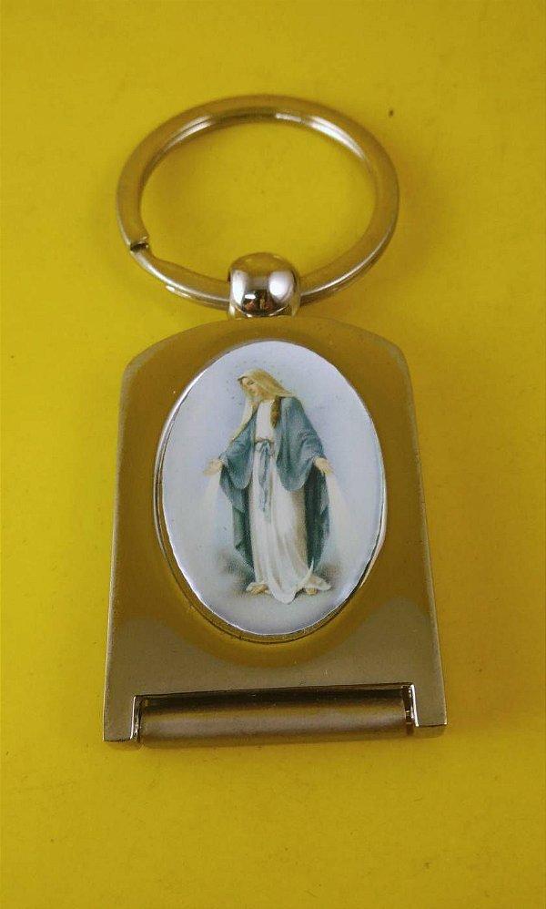 Chaveiro e Porta Foto Inox Nossa Senhora das Graças