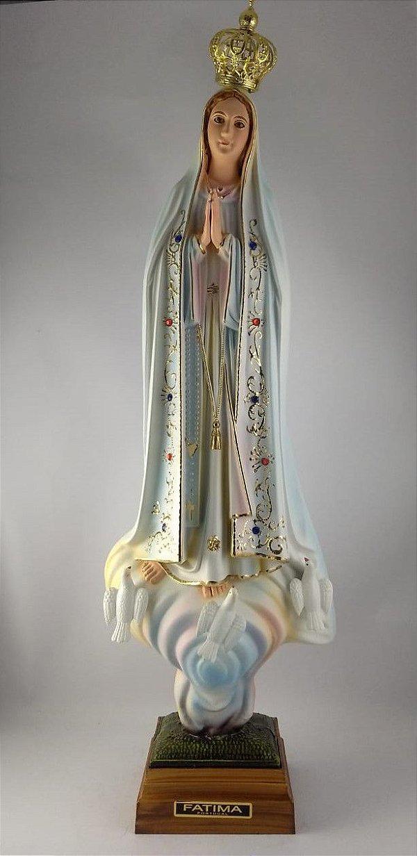 Nossa Senhora de Fátima Olho de Vidro 55 cm Importada