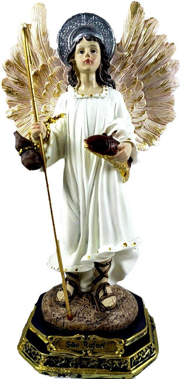 São Rafael Arcanjo resina 17 cm de altura