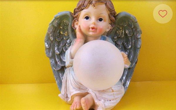 Anjo Luminária AZUL OU ROSA (luz troca de cor) resina.