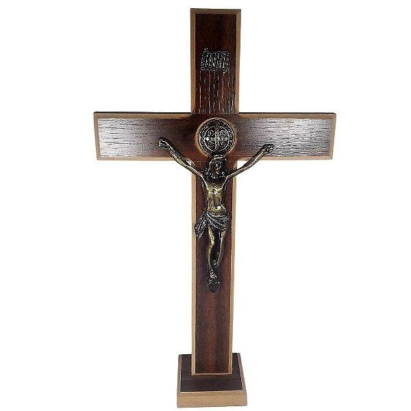 Crucifixo São Bento Mesa MDF 35 cm