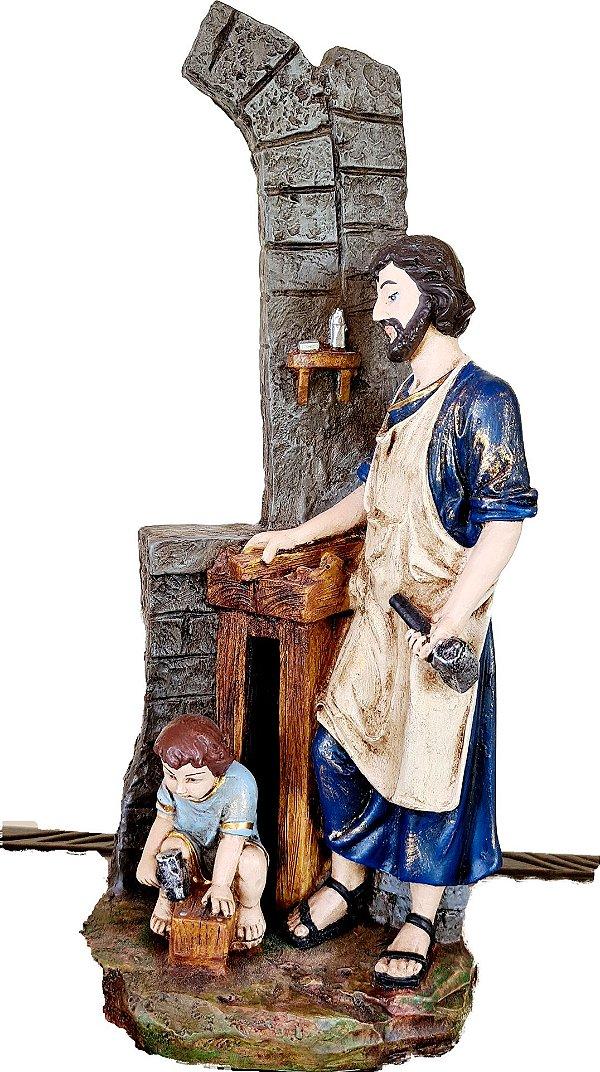 São José Operário na Carpintaria com Jesus Menino 25 cm