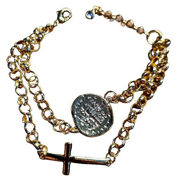 Pulseira SemiJóia São Bento Duas Cruzes com Crucifixo