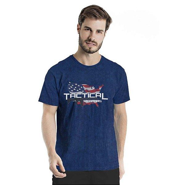 Camiseta Estonada Tactical Weapons Marinho Sky