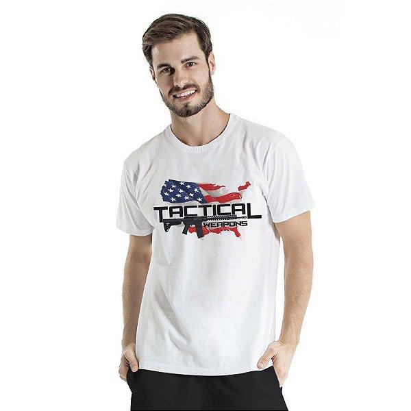 Camiseta Estonada Tactical Weapons Branca
