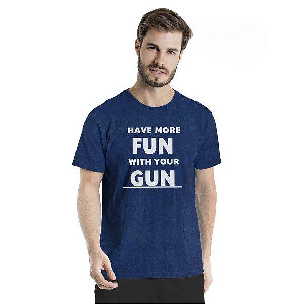 Camiseta Estonada Have More Fun Marinho Sky