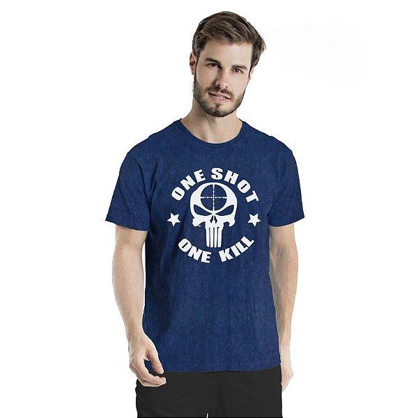 Camiseta Estonada One Shot  Marinho Sky