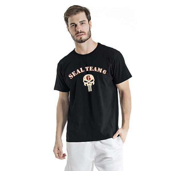 Camiseta Estonada Seal Team 6 Preta