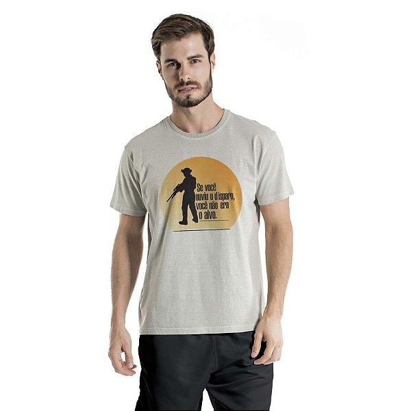 Camiseta Estonada Ouviu o Disparo Cinza