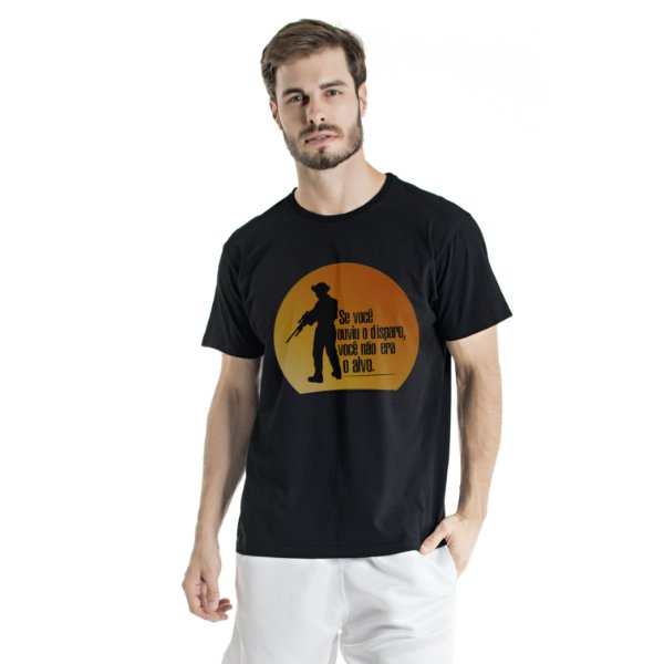 Camiseta Estonada Ouviu o Disparo Preta