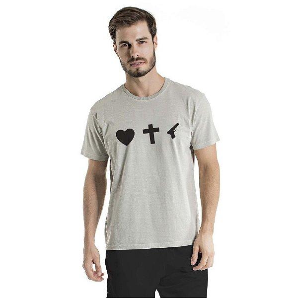 Camiseta Estonada Love Cinza