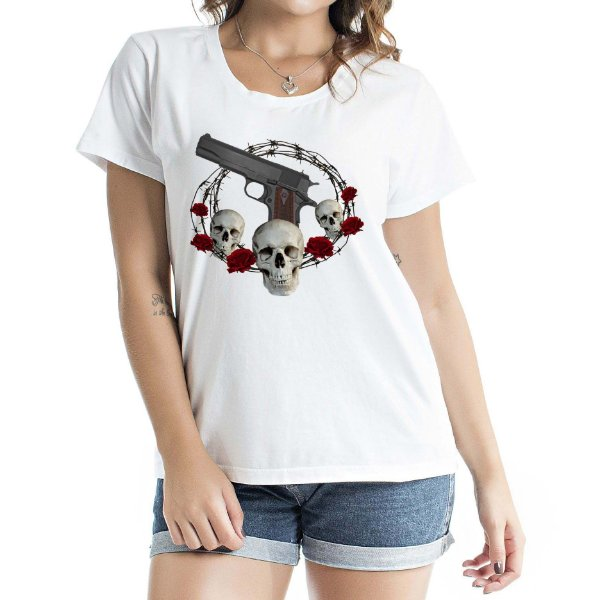 Baby Look Feminina Skull and Roses Branca