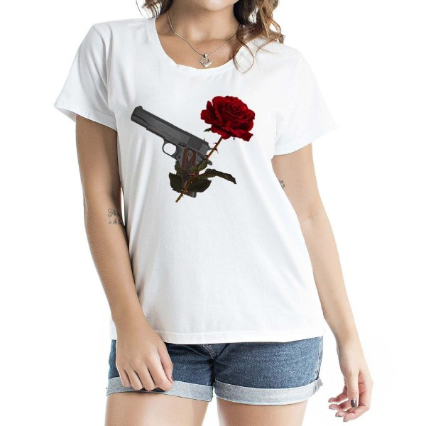 Baby Look Feminina Romantic Gun Branca