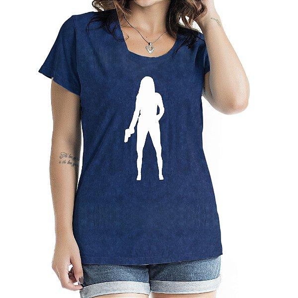 Baby Look Feminina Woman Shadow Marinho SKy