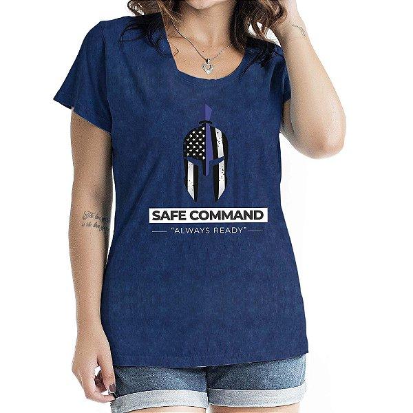 Baby Look Feminina Safe Command Marinho Sky