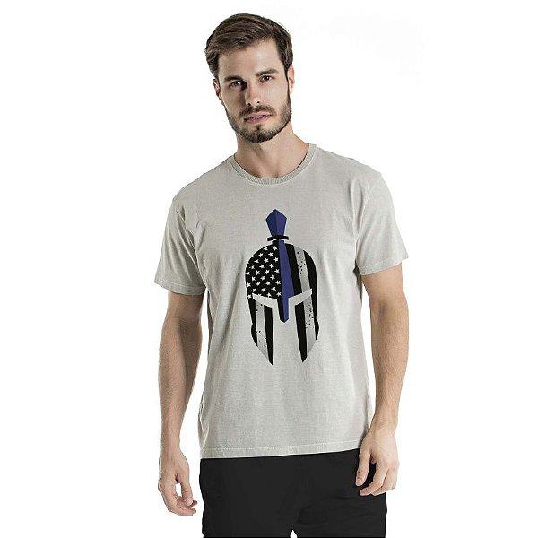 Camiseta Estonada Blue Gladiator Mask Cinza