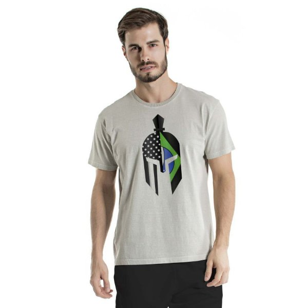 Camiseta Estonada Green Gladiator Mask Cinza