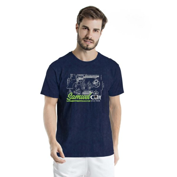 Camiseta Estonada Samuel Colt Pacificadora Marinho Sky
