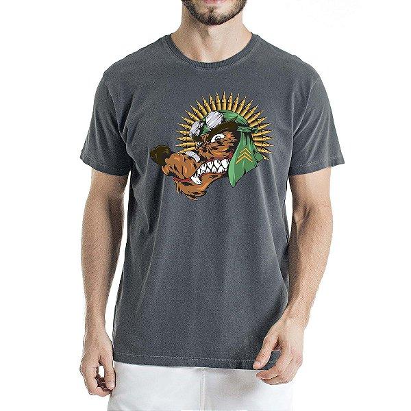 Camiseta Estonada Chumbo Lobo com Cocar de Munição
