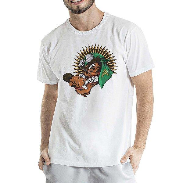 Camiseta Estonada Branca Lobo com Cocar de Munição