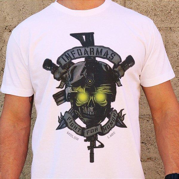 Camiseta Estonada Caveira Night Vision Branco