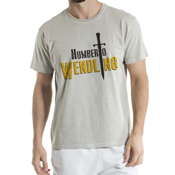 Camisa Estonada logo Humberto Wendling Cinza