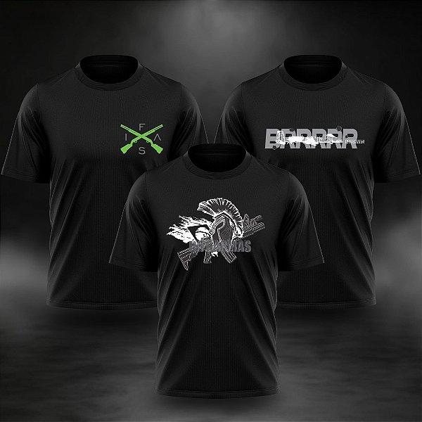 Kit 3 Camisetas Estampadas Pretas