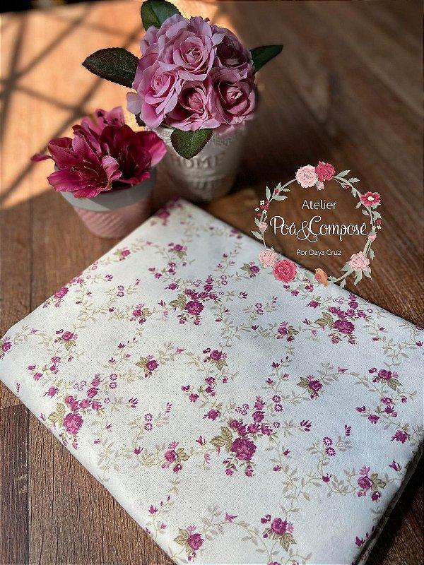 Tecido Floral Sarah Vinho 00167C03