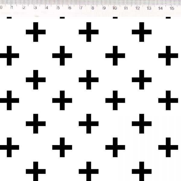 Tecido Geométrico Sinal Mais P/B 30624C01