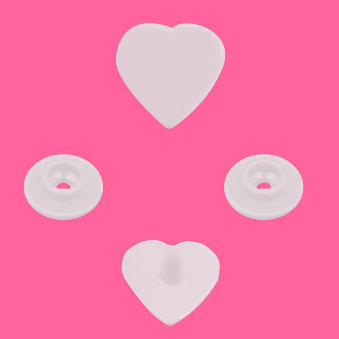 Botão Rita Coração cor Branco (Tam. 10)