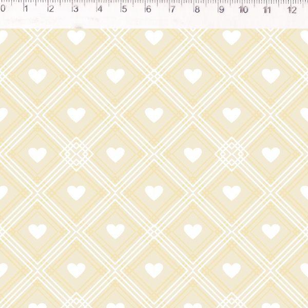 Coração de Pano Xadrez Amarelo CP005C03