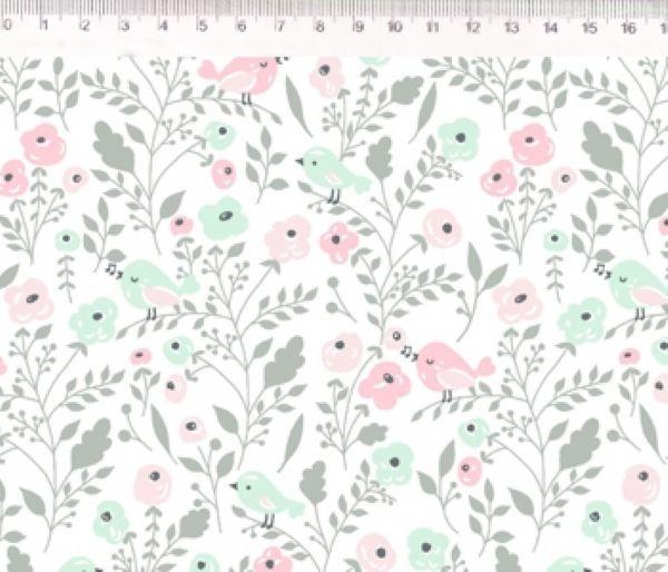 Tecido Floral e Passarinho ES021C01