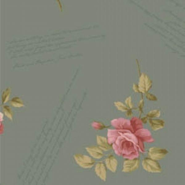Tecido Floral Escrito La Vie en Rose Cinza (MV002C03)
