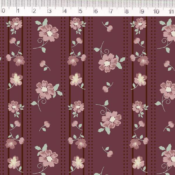 Tecido Listras e Flores Vermelho MV026C03