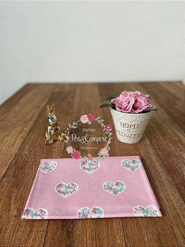 Tecido Patch Love Corações Grandes cor Rosa VG026C01
