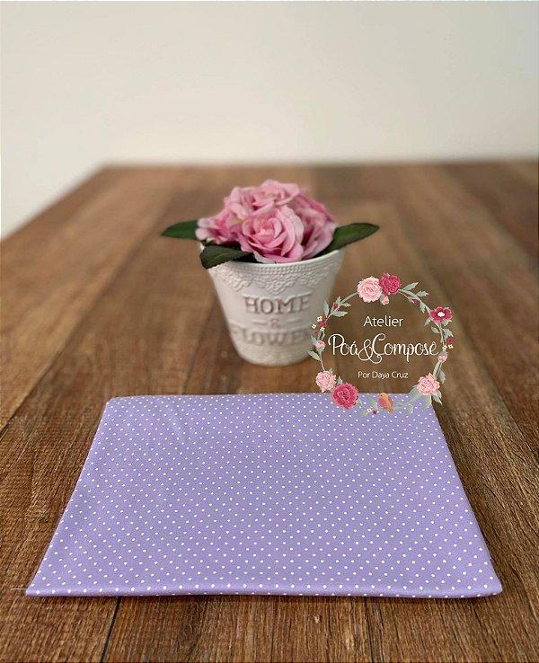 Tecido Poá pequeno lilás com branco (Cor 01)
