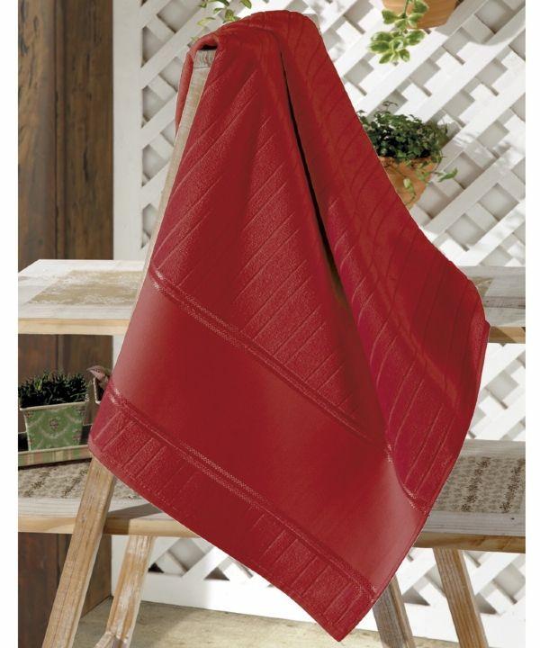 Toalha de Rosto Dohler Vermelha (Faixa Pinte e Borde)