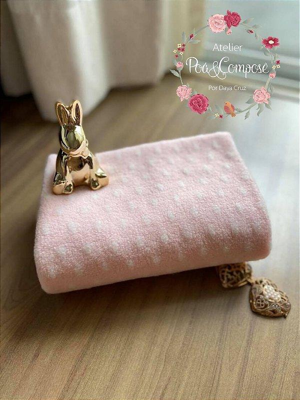 Unifloc de Poá rosa bebê 80x80