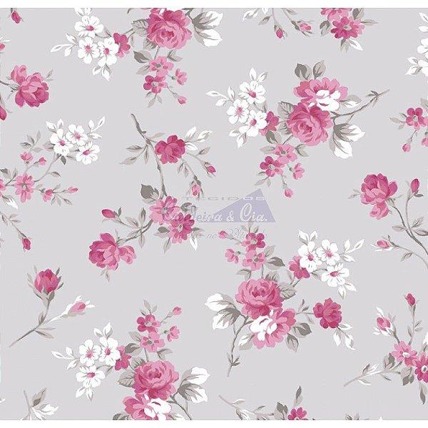 Tecido Floral Eliza Cinza (Cor 02)