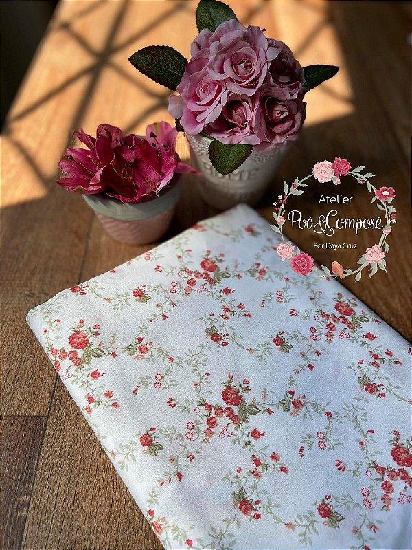 Tecido Floral Sarah Vermelho 00167C01