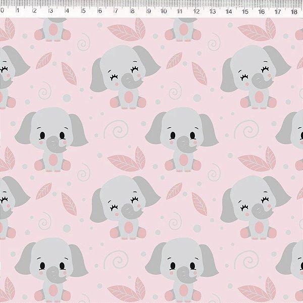 Tecido Delicata Elefante rosa 30679C01