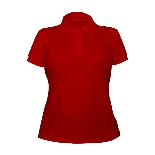 Kit 10 peças - Camiseta Polo Piquet Vermelha Feminina