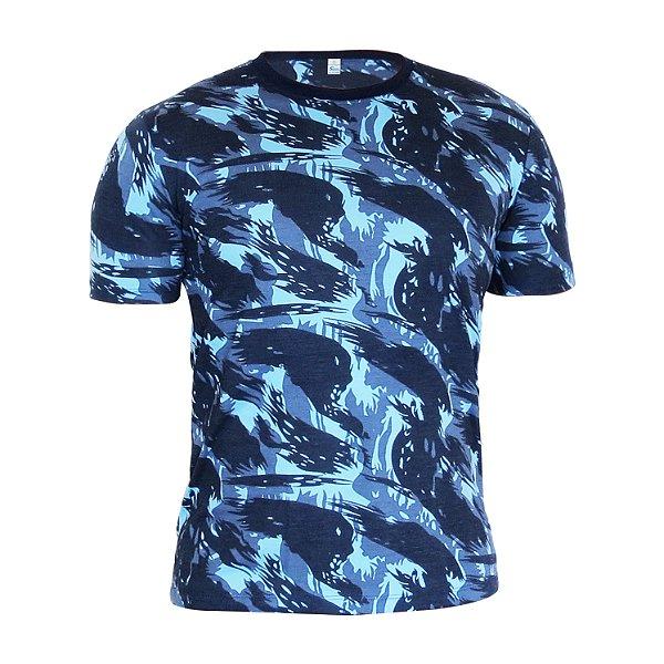 Kit 10 peças - Camiseta PV (malha fria) Camuflada Azul Masculina