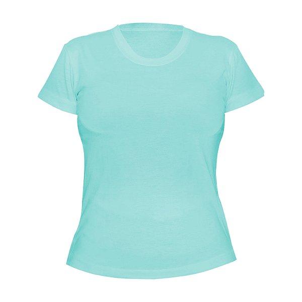 Kit 10 peças - Camiseta Poliéster Anti Pilling Azul Piscina Feminina