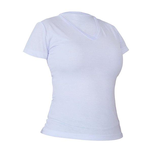 Camiseta Gola V Poliéster Anti Pilling Branca Feminina
