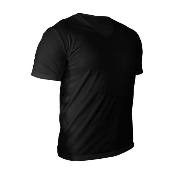 Camiseta Gola V Poliéster Anti Pilling Preta Masculina