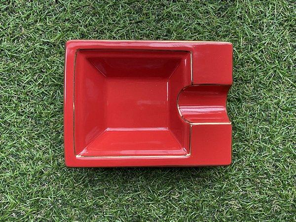 Cinzeiro Para Charutos em Cerâmica - Vermelho