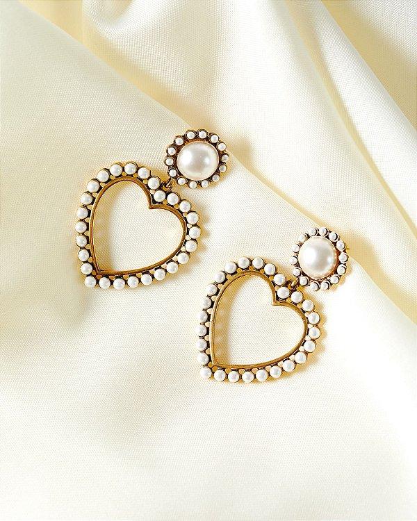 Brinco Coração Paris - Dourado