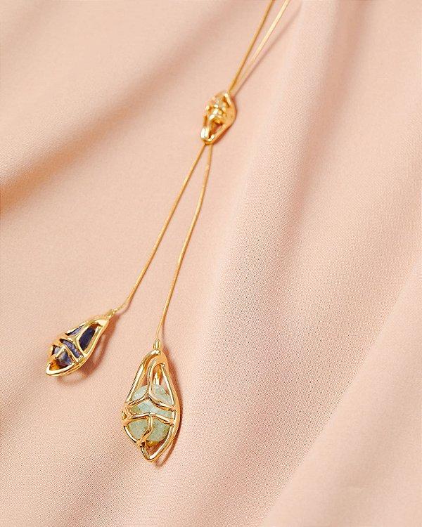 Colar Gravata Sopro Pedras Dourado, LOOL
