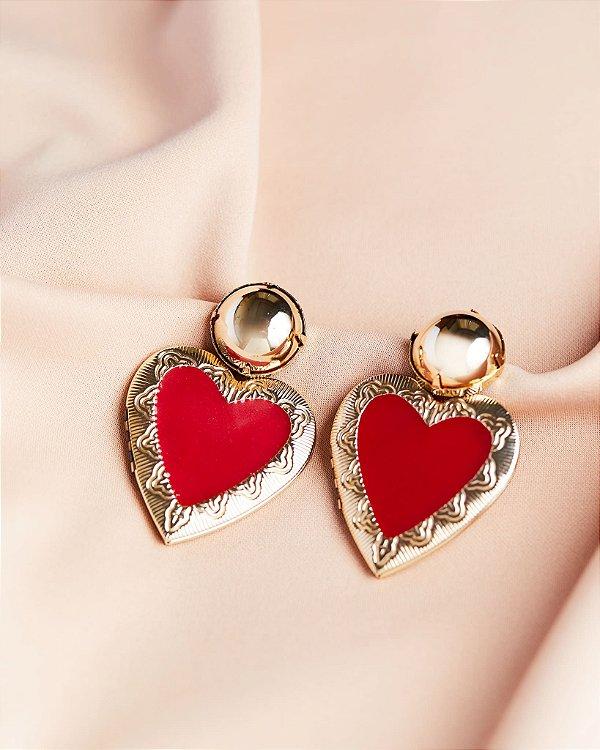 Brinco Coeur Dourado - Vermelho